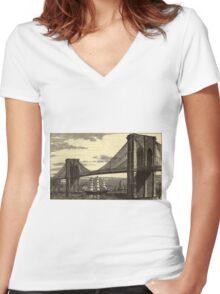 Vintage Illustration of The Brooklyn Bridge (1879) Women's Fitted V-Neck T-Shirt