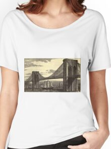 Vintage Illustration of The Brooklyn Bridge (1879) Women's Relaxed Fit T-Shirt