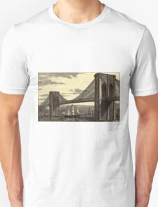 Vintage Illustration of The Brooklyn Bridge (1879) T-Shirt