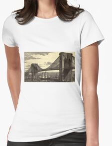 Vintage Illustration of The Brooklyn Bridge (1879) Womens Fitted T-Shirt