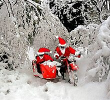 Santa Claus riding a motorcycle in a snow forest by Frank Kletschkus