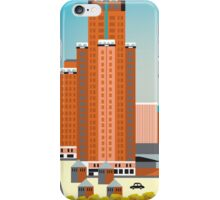 Milwaukee, Wisconsion - Vertical Retro Themed Skyline by Loose Petals iPhone Case/Skin