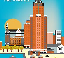 Milwaukee, Wisconsion - Vertical Retro Themed Skyline by Loose Petals by karenart