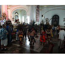 Indian dancers in honour to the Virgin of Guadalupe - Danzantes Indigenas en honor de Virgen de Guadalupe  Photographic Print