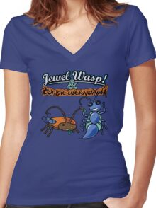 Jewel Wasp & Zombie Cockroach Women's Fitted V-Neck T-Shirt