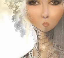 Colette .. Pen & Ink Sketch ...  with digital oil by Carmen Holly