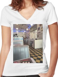 50s. Women's Fitted V-Neck T-Shirt