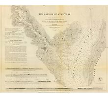 Vintage Map of Annapolis Harbor Maryland (1846) Photographic Print