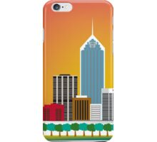 Perth, Australia - Horizontal Retro Themed Skyline Illustration by Loose Petals iPhone Case/Skin