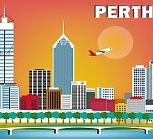Perth, Australia - Horizontal Retro Themed Skyline Illustration by Loose Petals by karenart