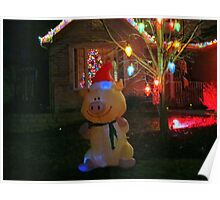 """Happy Pig"" Christmas Decorations Poster"
