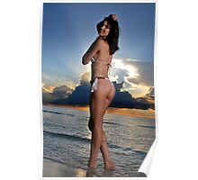 Beautiful brunette bikini model posing at cloudy Caribbean sunrise Poster