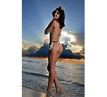 Beautiful brunette bikini model posing at cloudy Caribbean sunrise Photographic Print