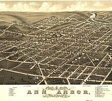 Vintage Pictorial Map of Ann Arbor Michigan (1880) by BravuraMedia