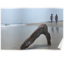 Piece of drift wood on empty beach with couple walking away on backoundgr Poster