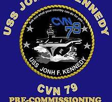 Pre-Commissioning Unit John F. Kennedy (PCU-79) Crest for Dark Colors by Spacestuffplus
