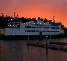 Washington State Ferry Chetzemoka at sunset by zargoman