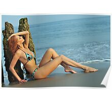 Pretty woman in blue bikini arching her back on a beach  Poster