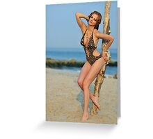 Young redhead girl on the beach standing pretty in designers swimsuit  Greeting Card