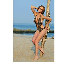 Young redhead girl on the beach standing pretty in designers swimsuit  Photographic Print