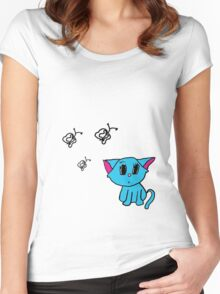 Cute Kitty (Large) Women's Fitted Scoop T-Shirt