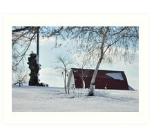 A snowy farm scene Art Print