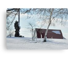 A snowy farm scene Metal Print