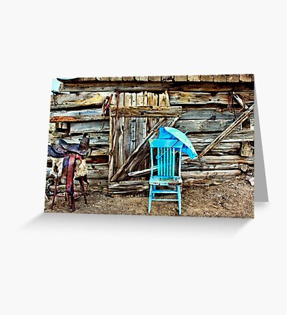 Blue Chair And Parasol Greeting Card