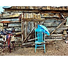Blue Chair And Parasol Photographic Print