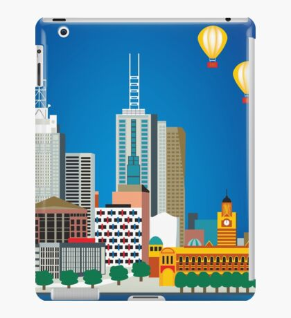 Melbourne, Australia - Horizontal Retro Themed Skyline Illustration by Loose Petals iPad Case/Skin