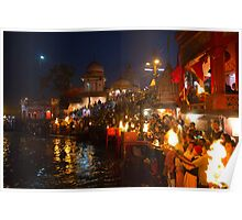 Arati to goddess Ganga at Haridwar Poster