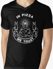 In Pizza We Trust - Black and White Version Mens V-Neck T-Shirt
