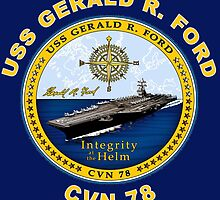 USS Gerald R. Ford (CVN-78) Crest for Dark Colors by Spacestuffplus