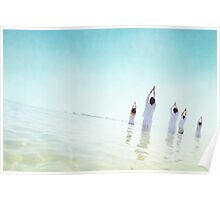 Goup Meditation in the beach of Barcelona Poster