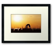 Yoga by the Statue of liberty, New York Framed Print