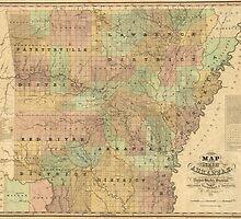 Vintage Map of Arkansas (1839) by BravuraMedia