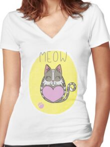 Tiggle Cat Women's Fitted V-Neck T-Shirt