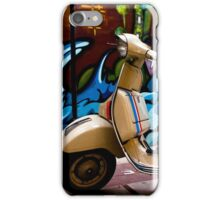 STREET GRAFFITI WALL AND RETRO VINTAGE VESPA SCOOTER MOTORCYCLE iPhone Case/Skin