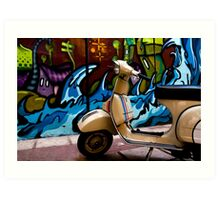 STREET GRAFFITI WALL AND RETRO VINTAGE VESPA SCOOTER MOTORCYCLE Art Print