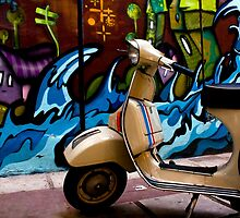 STREET GRAFFITI WALL AND RETRO VINTAGE VESPA SCOOTER MOTORCYCLE by Byzas