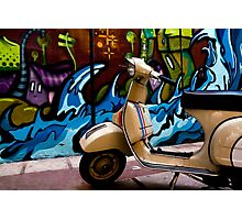 STREET GRAFFITI WALL AND RETRO VINTAGE VESPA SCOOTER MOTORCYCLE Photographic Print