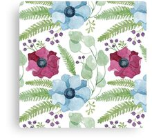 Burgundy and blue anemone flowers pattern Canvas Print