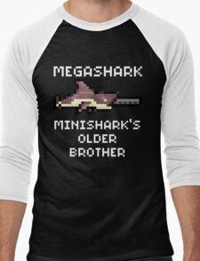 MegaShark Gun Terraria White Writing Men's Baseball ¾ T-Shirt