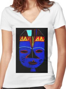 Blue Mask by Josh T-Shirt Women's Fitted V-Neck T-Shirt