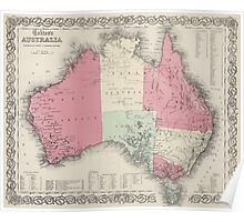 Vintage Map of Australia (1865) Poster