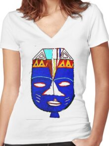 Blue Mask by Josh 2 T-Shirt Women's Fitted V-Neck T-Shirt