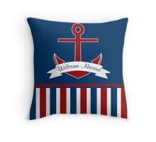 Red White and Blue Welcome Aboard Boating Design Throw Pillow