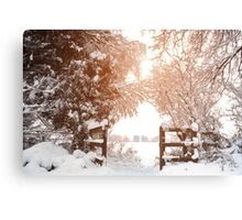 Ruff Wood Entrance - Snow Scene Canvas Print