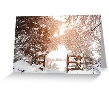 Ruff Wood Entrance - Snow Scene Greeting Card