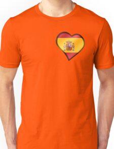 Spanish Flag - Spain - Heart Unisex T-Shirt